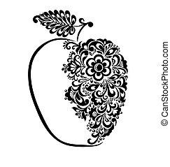 bello, mela, pattern., nero, floreale, bianco, decorato