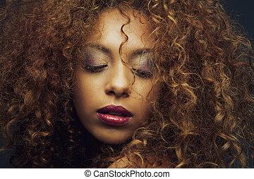 bello, moda, americano, africano femmina, modello