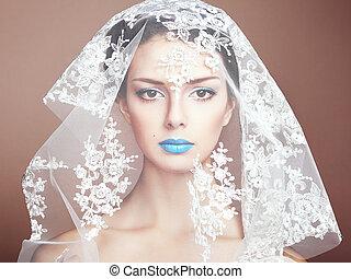 bello, moda, foto, sotto, bianco, velo, donne
