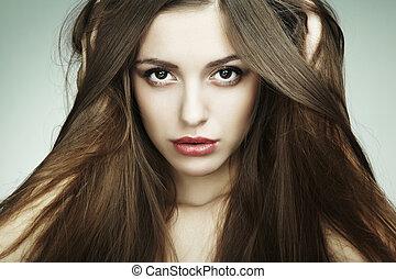 bello, moda, giovane, closeup, ritratto, woman.