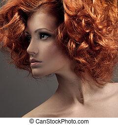 bello, moda, riccio, portrait., hair., woman.