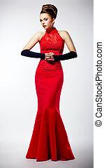 bello, moda, vestito, moderno, lussuoso, sposa, vestire, rosso