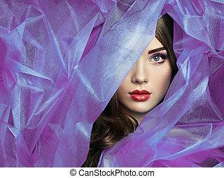 bello, moda, viola, foto, sotto, velo, donne