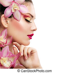 bello, modello, bellezza, isolato, girl., fondo, bianco, woman.