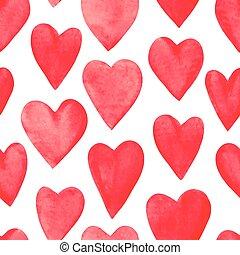 bello, modello, seamless, illustrazione, acquarello, vettore, hearts., rosso