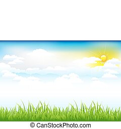 bello, nubi, paesaggio verde