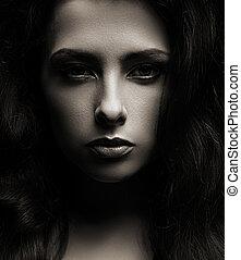 bello, ombre, faccia donna, scuro, closeup, fondo, ritratto
