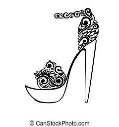 bello, ornamento, sandali, nero, floreale, decorato, bianco