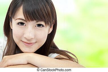 bello, perfetto, concetto, faccia, donna, asiatico, pelle