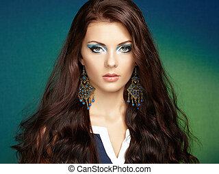 bello, perfetto, donna, earring., foto, makeup., moda, brunetta, ritratto