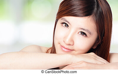 bello, perfetto, donna, pelle, faccia
