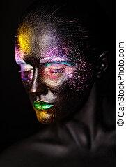 bello, plastica, insolito, donna, arte, colorito, foto, trucco, maschera, faccia, luminoso, nero, modello, creativo