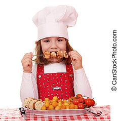 bello, poco, carne, mangiare, cuoco, pollo cotto, ragazza