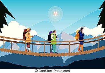bello, ponte, campeggiatori, scena, sospensione, paesaggio