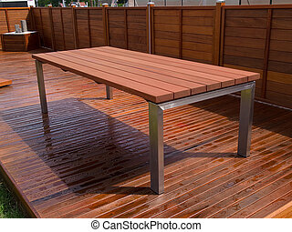 bello, ponte, legno duro, mogano, pavimento, tavola