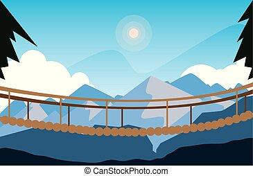bello, ponte, scena, paesaggio, sospensione