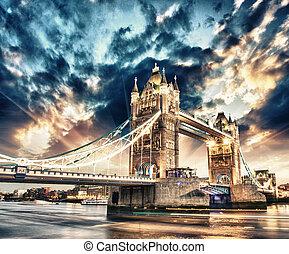 bello, ponte, sopra, famoso, colori, tramonto, londra, torre