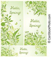 bello, primavera, bandiere, floreale