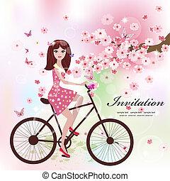 bello, ragazza, bicicletta