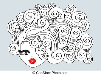 bello, ragazza, capelli, illustrazione, riccio, vettore, rosso, mouth.