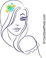 bello, ragazza, fiori, silhouette, lineare