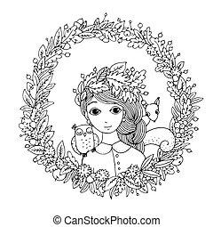 bello, ragazza, giovane, wreath.