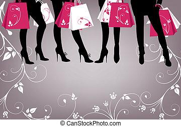 bello, ragazza, shopping