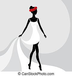 bello, ragazza, vestire, bianco