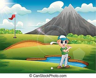 bello, ragazzo, golf, gioco, natura