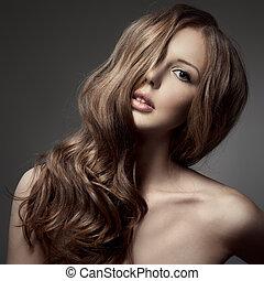 bello, riccio, capelli lunghi, biondo, woman.