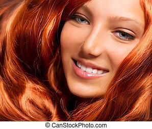 bello, riccio, sano, capelli lunghi, hair., ragazza, rosso