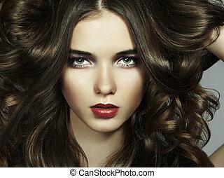 bello, ritratto, donna, moda, giovane
