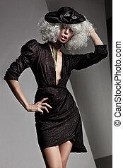 bello, ritratto, stile, moda, donna