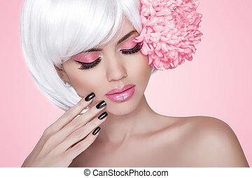 bello, rosa, moda, nails., bellezza, sopra, makeup., treatment., ragazza, flower., donna, fondo, manicured, ritratto, biondo, modello