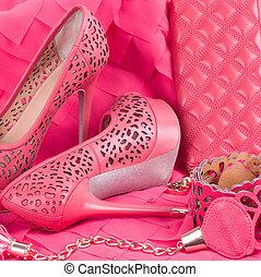 bello, rosa, scarpa