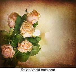 bello, rosa, toned, vendemmia, sepia, roses., styled.