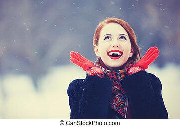 bello, rosso, park., inverno, donne