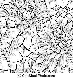 bello, seamless, sfondo nero, monocromatico, fiori bianchi