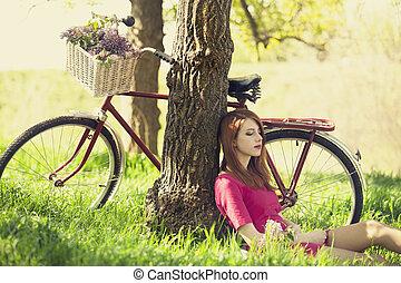 bello, seduta, foto, albero, resto, forest., bicicletta, retro, ragazza, style.
