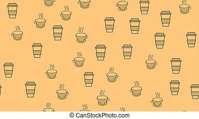 bello, set, tè, ceramica, carta, saporito, struttura, campanelle, bibite, thermo, modello, seamless, digiuno, fondo., bello, marrone, caffè, illustrazione, rinfrescante, vettore, takeaway, occhiali
