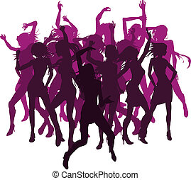 bello, silhouette, donne, ballo