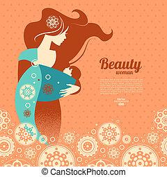 bello, silhouette, fionda, bambino, fondo, madre, floreale
