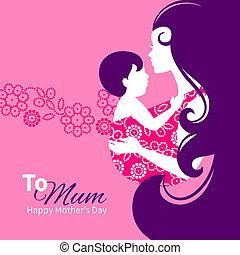 bello, sling., silhouette, illustrazione, bambino, madre, floreale