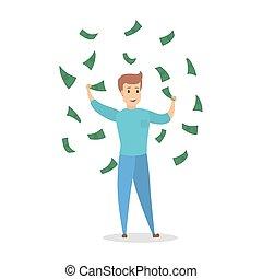bello, soldi, circondato, saltare, felice, uomo