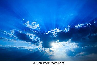 bello, sole, cielo drammatico, rays.