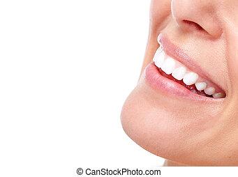 bello, sorriso, donna, teeth.