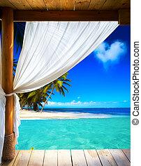 bello, spiaggia, arte, fondo, vista