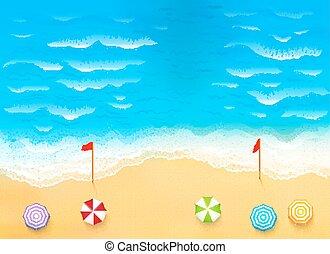 bello, spiaggia, illustrazione, corrente, strappo, onde