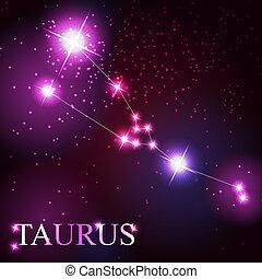 bello, stelle, cielo, cosmico, toro, segno, luminoso, vettore, fondo, zodiaco