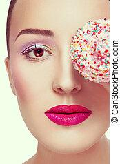 bello, stile, colorito, vendemmia, giovane, cupcake, primo piano, trucco, ritratto, elegante, ragazza
